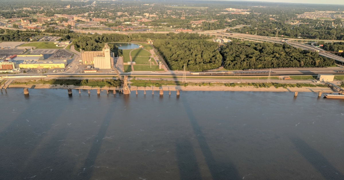 View of the Mississippi River and Illinois from the top of the Gateway Arch
